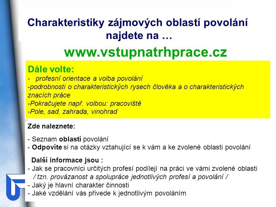Integrovaný systém typových pozic www.istp.cz KTP - Kartotéka typových pozic nabízí: náhled na profesi skrze pracovní činnosti, charakter práce, pracovní podmínky, osobnostní a kvalifikační požadavky JOBTIP – Analýza osobního potenciálu umožňuje: vytvoření osobního profilu a vyhledávání pracovních pozic DATCZ - Databáze dalšího profesního vzdělávání informuje o: možnostech vzdělávacích a rekvalifikačních kurzů