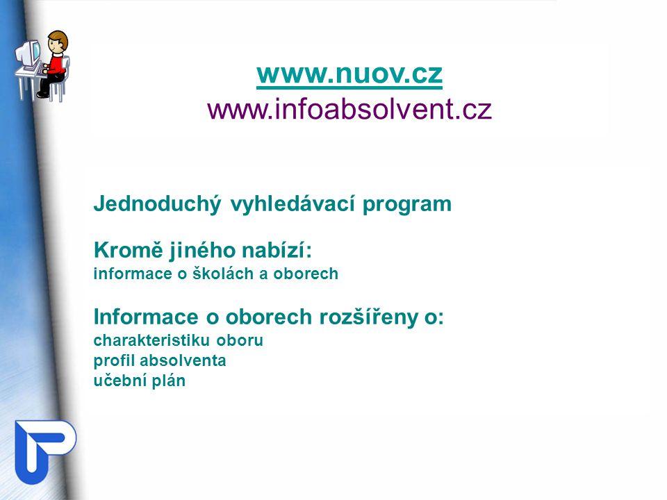 www.nuov.cz www.infoabsolvent.cz Jednoduchý vyhledávací program Kromě jiného nabízí: informace o školách a oborech Informace o oborech rozšířeny o: ch