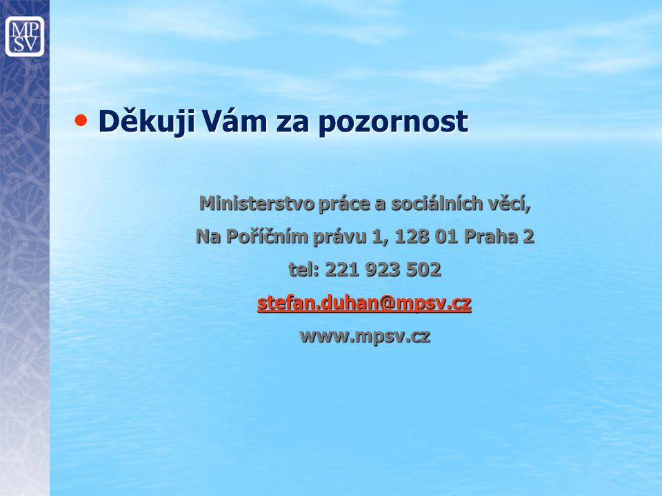 Děkuji Vám za pozornost Děkuji Vám za pozornost Ministerstvo práce a sociálních věcí, Na Poříčním právu 1, 128 01 Praha 2 tel: 221 923 502 stefan.duhan@mpsv.cz stefan.duhan@mpsv.czwww.mpsv.cz