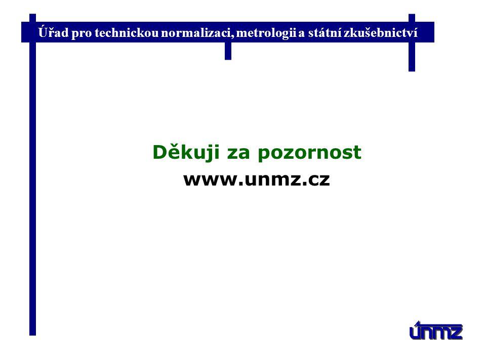 Úřad pro technickou normalizaci, metrologii a státní zkušebnictví Děkuji za pozornost www.unmz.cz