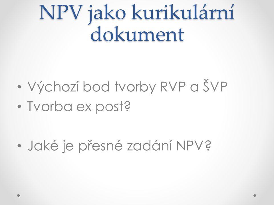 NPV jako kurikulární dokument Výchozí bod tvorby RVP a ŠVP Tvorba ex post.