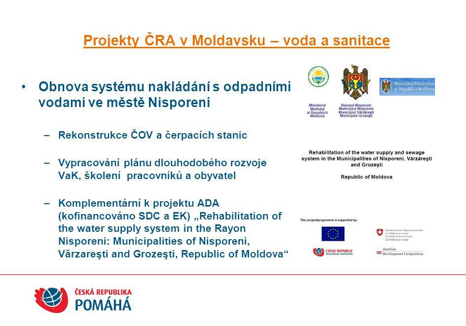 Projekty ČRA v Moldavsku – voda a sanitace Obnova systému nakládání s odpadními vodami ve městě Nisporeni –Rekonstrukce ČOV a čerpacích stanic –Vyprac