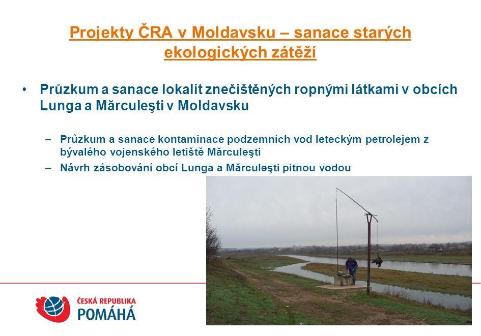 Projekty ČRA v Moldavsku – obecná ochrana životního prostředí Varovný povodňový a monitorovací systém na řece PRUT –Dodávka a instalace 11 hydrologických měrných stanic –Zpracování hydrologických dat: instalace a testovací provoz databáze Státní hydrometeorologické služby Moldavska