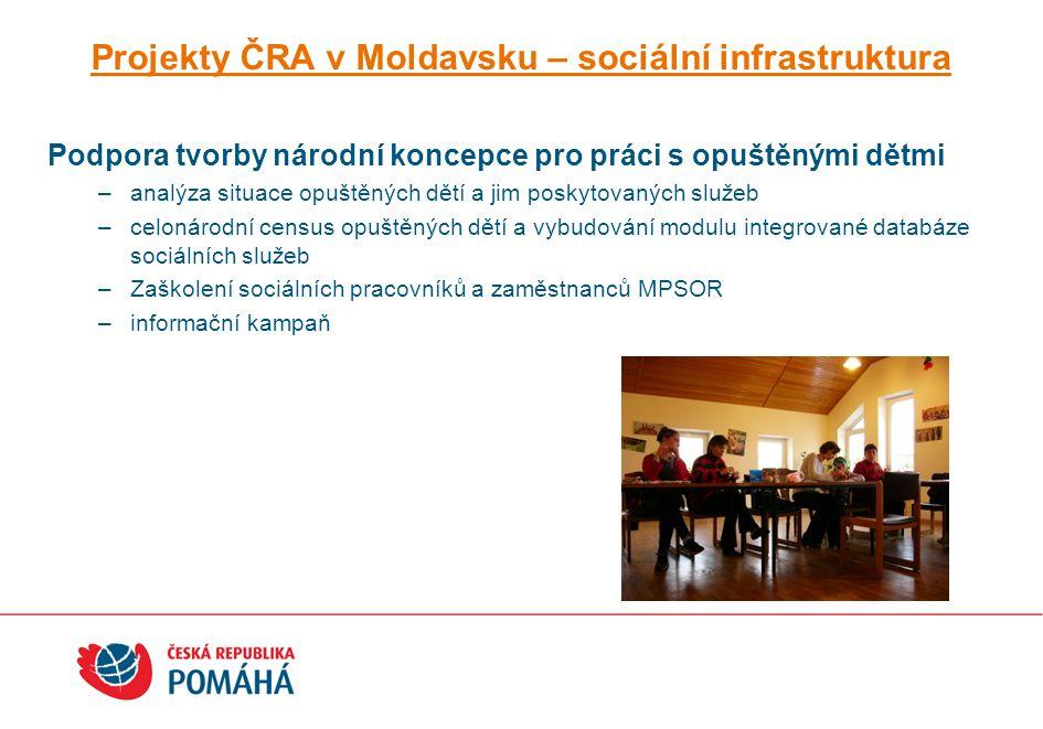 Projekty ČRA v Moldavsku – sociální infrastruktura Podpora tvorby národní koncepce pro práci s opuštěnými dětmi –analýza situace opuštěných dětí a jim