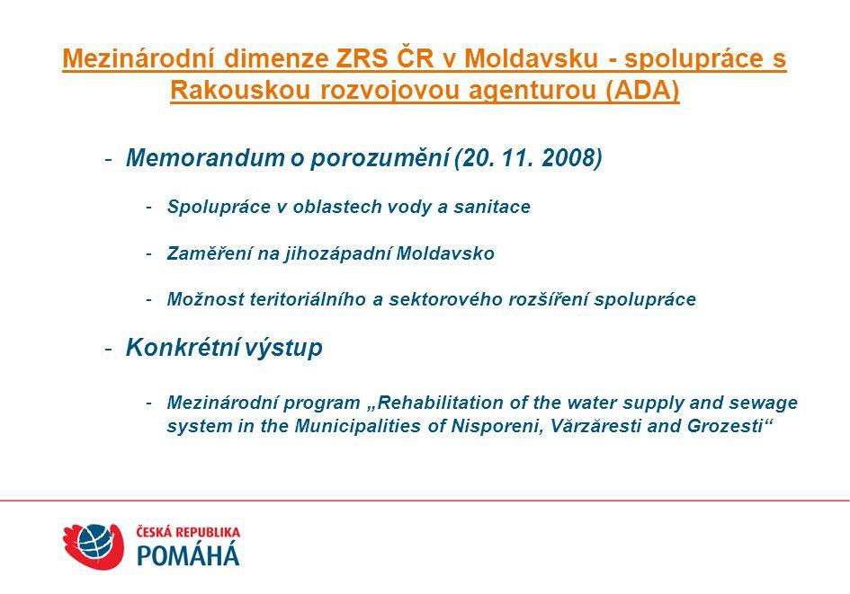 Mezinárodní dimenze ZRS ČR v Moldavsku - spolupráce s Rakouskou rozvojovou agenturou (ADA) -Memorandum o porozumění (20. 11. 2008) -Spolupráce v oblas