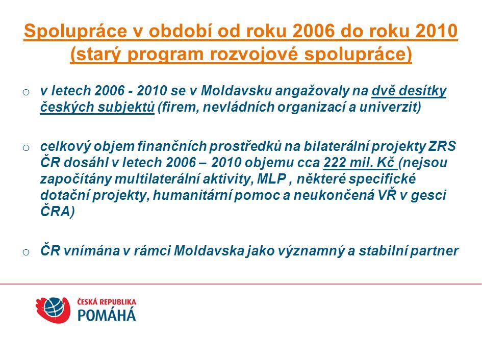 o v letech 2006 - 2010 se v Moldavsku angažovaly na dvě desítky českých subjektů (firem, nevládních organizací a univerzit) o celkový objem finančních