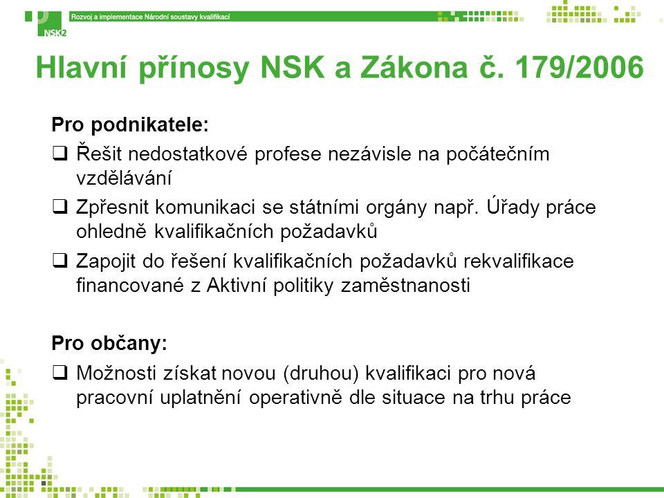 Hlavní přínosy NSK a Zákona č. 179/2006 Pro podnikatele:  Řešit nedostatkové profese nezávisle na počátečním vzdělávání  Zpřesnit komunikaci se stát