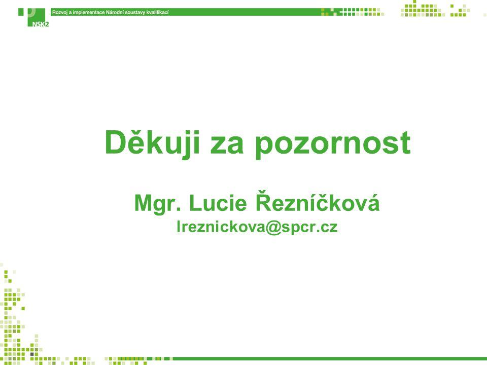 Děkuji za pozornost Mgr. Lucie Řezníčková lreznickova@spcr.cz
