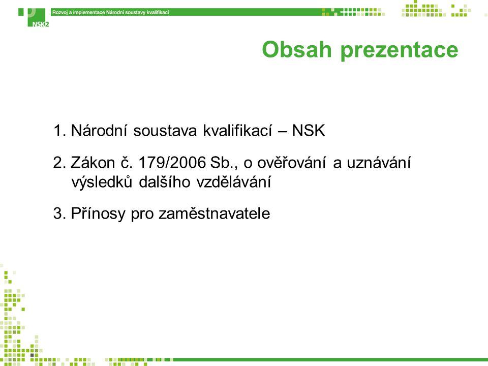 Obsah prezentace 1. Národní soustava kvalifikací – NSK 2. Zákon č. 179/2006 Sb., o ověřování a uznávání výsledků dalšího vzdělávání 3. Přínosy pro zam