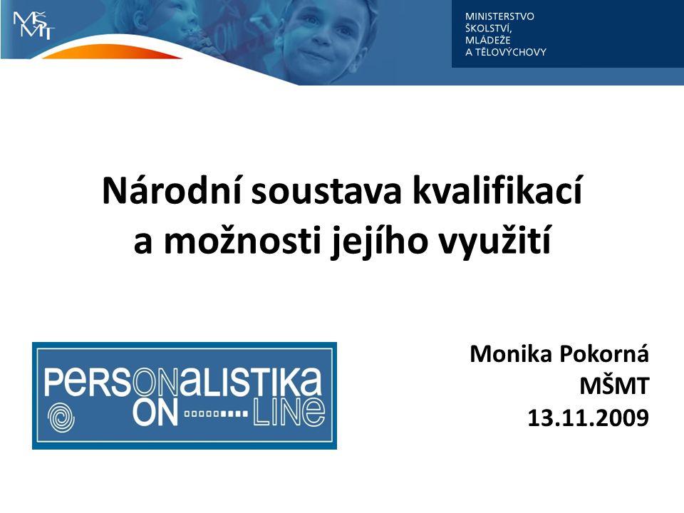 Národní soustava kvalifikací a možnosti jejího využití Monika Pokorná MŠMT 13.11.2009