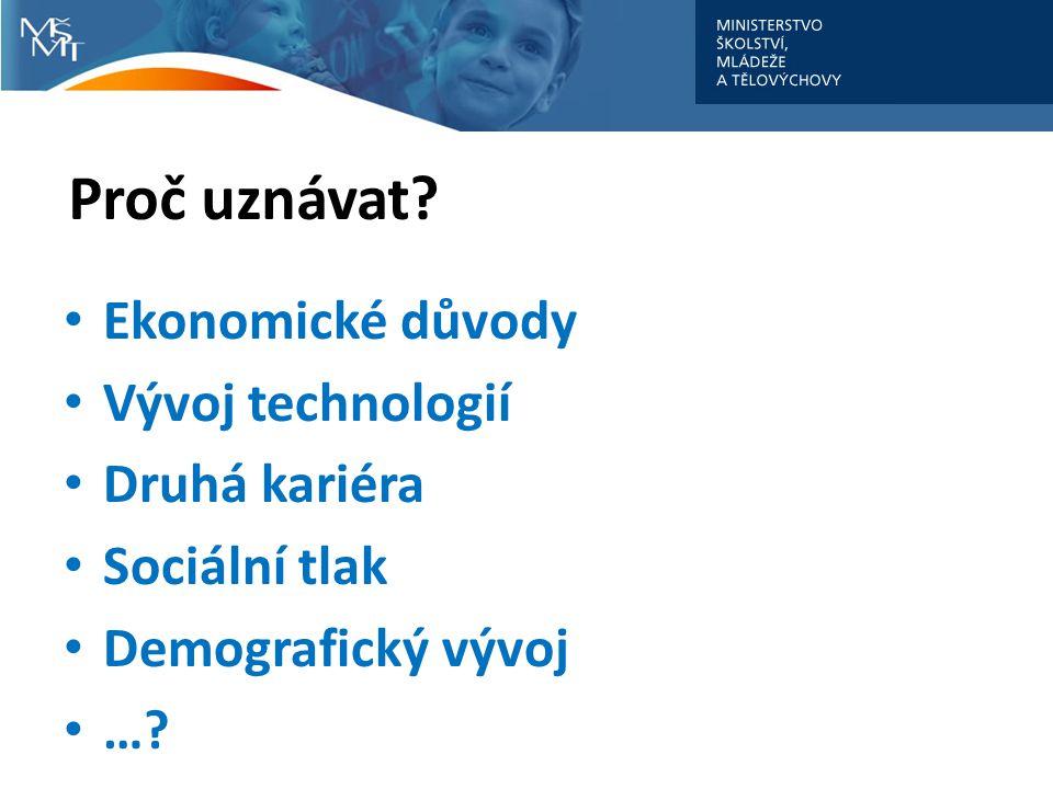 Proč uznávat? Ekonomické důvody Vývoj technologií Druhá kariéra Sociální tlak Demografický vývoj …?