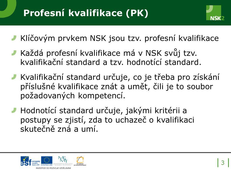 Profesní kvalifikace (PK) Klíčovým prvkem NSK jsou tzv.