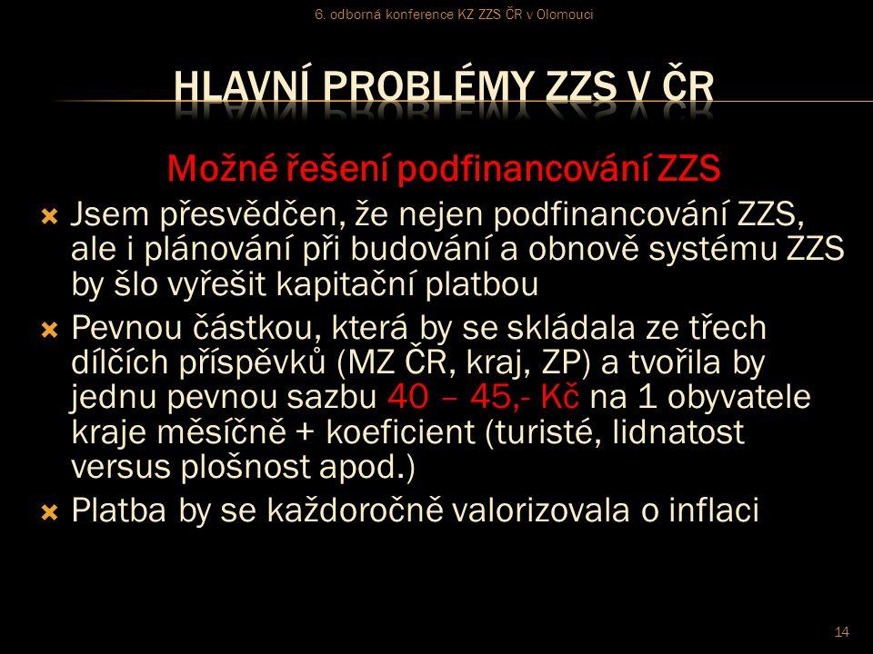 Možné řešení podfinancování ZZS  Jsem přesvědčen, že nejen podfinancování ZZS, ale i plánování při budování a obnově systému ZZS by šlo vyřešit kapitační platbou  Pevnou částkou, která by se skládala ze třech dílčích příspěvků (MZ ČR, kraj, ZP) a tvořila by jednu pevnou sazbu 40 – 45,- Kč na 1 obyvatele kraje měsíčně + koeficient (turisté, lidnatost versus plošnost apod.)  Platba by se každoročně valorizovala o inflaci 6.