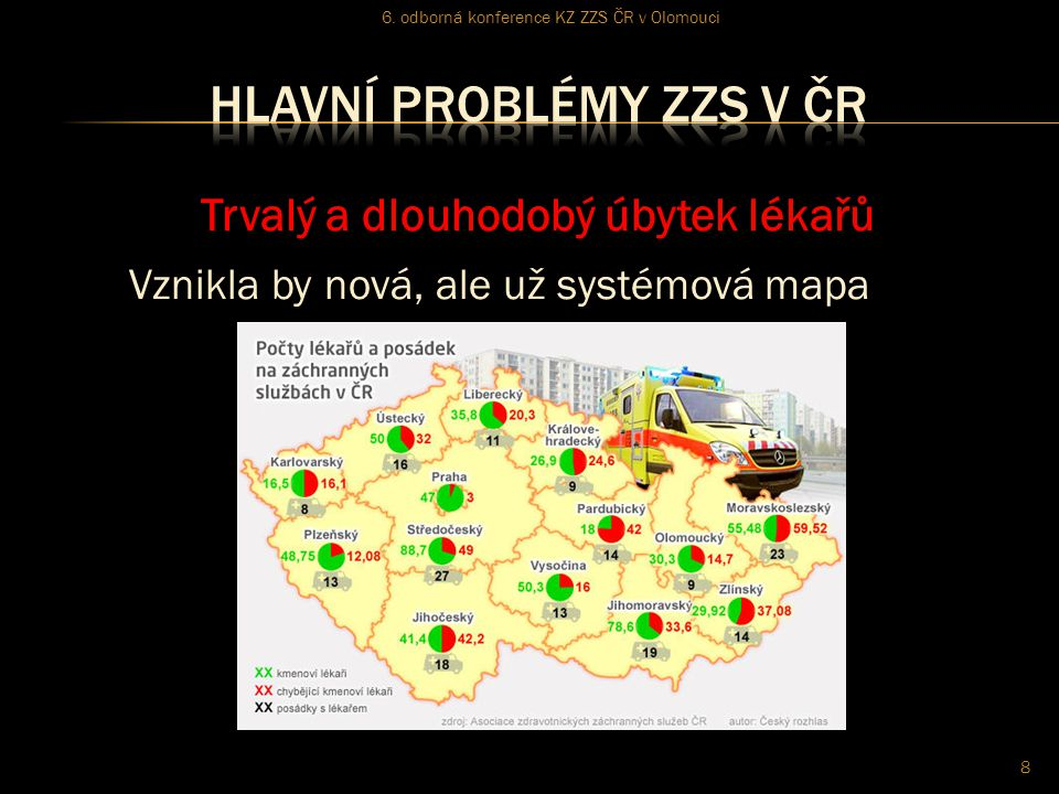 Trvalý a dlouhodobý úbytek lékařů Vznikla by nová, ale už systémová mapa 6. odborná konference KZ ZZS ČR v Olomouci 8