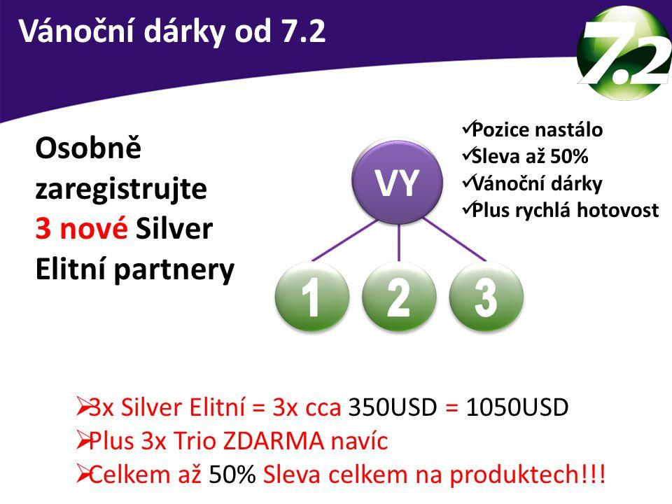 Vánoční dárky od 7.2  3x Silver Elitní = 3x cca 350USD = 1050USD  Plus 3x Trio ZDARMA navíc  Celkem až 50% Sleva celkem na produktech!!! Osobně zar