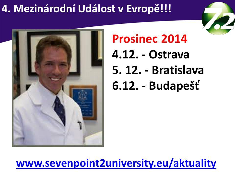 Prosinec 2014 4.12. - Ostrava 5. 12. - Bratislava 6.12. - Budapešť 4. Mezinárodní Událost v Evropě!!! www.sevenpoint2university.eu/aktuality