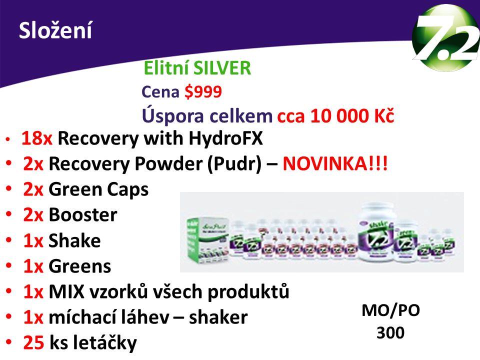 Elitní SILVER Cena $999 Úspora celkem cca 10 000 Kč 18x Recovery with HydroFX 2x Recovery Powder (Pudr) – NOVINKA!!! 2x Green Caps 2x Booster 1x Shake