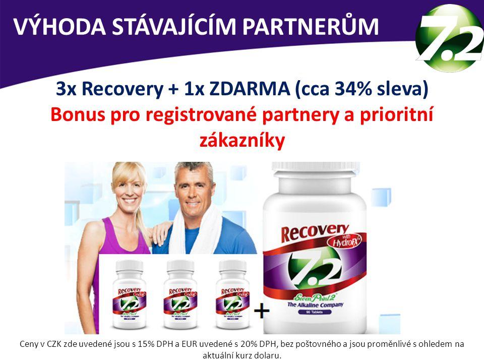 VÝHODA STÁVAJÍCÍM PARTNERŮM 3x Recovery + 1x ZDARMA (cca 34% sleva) Bonus pro registrované partnery a prioritní zákazníky Ceny v CZK zde uvedené jsou