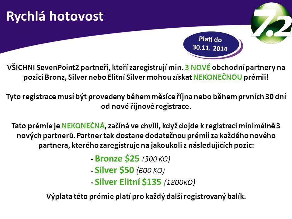 RYCHLÁ HOTOVOST VŠICHNI SevenPoint2 partneři, kteří zaregistrují min. 3 NOVÉ obchodní partnery na pozici Bronz, Silver nebo Elitní Silver mohou získat