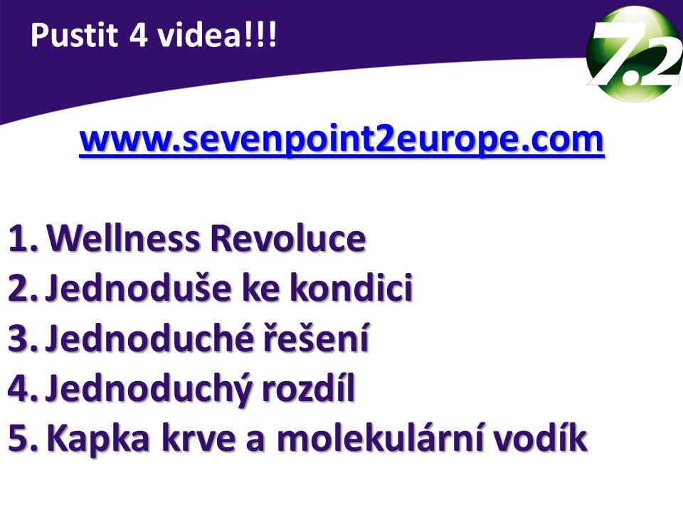 www.sevenpoint2europe.com 1.Wellness Revoluce 2.Jednoduše ke kondici 3.Jednoduché řešení 4.Jednoduchý rozdíl 5.Kapka krve a molekulární vodík Pustit 4