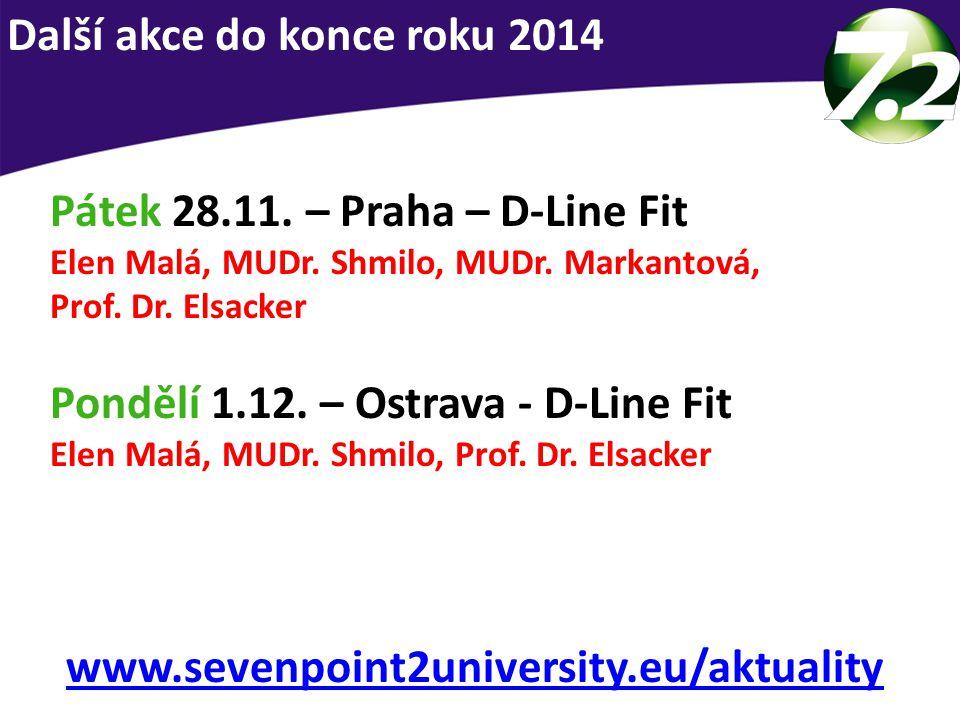 Pátek 28.11. – Praha – D-Line Fit Elen Malá, MUDr. Shmilo, MUDr. Markantová, Prof. Dr. Elsacker Pondělí 1.12. – Ostrava - D-Line Fit Elen Malá, MUDr.