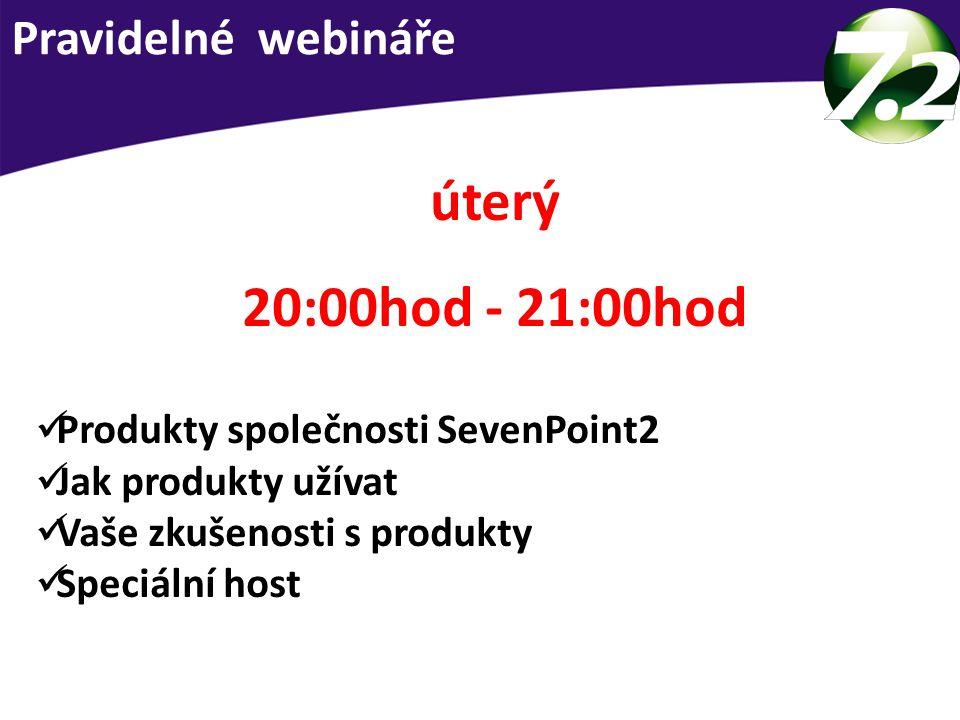 Pravidelné webináře úterý 20:00hod - 21:00hod Produkty společnosti SevenPoint2 Jak produkty užívat Vaše zkušenosti s produkty Speciální host