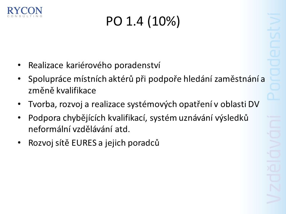PO 1.5 Podpora učňovské přípravy a odborných stáží Poskytnutí prvních pracovních zkušeností (místo na min.