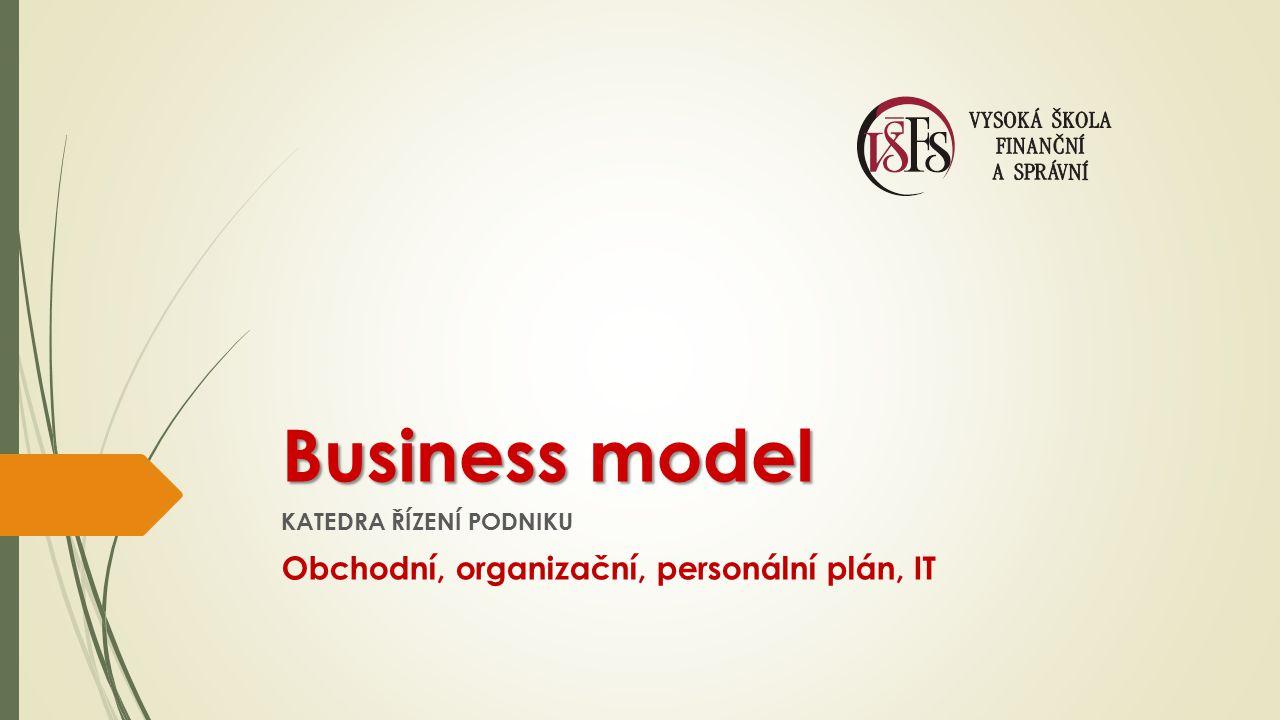 Business model KATEDRA ŘÍZENÍ PODNIKU Obchodní, organizační, personální plán, IT
