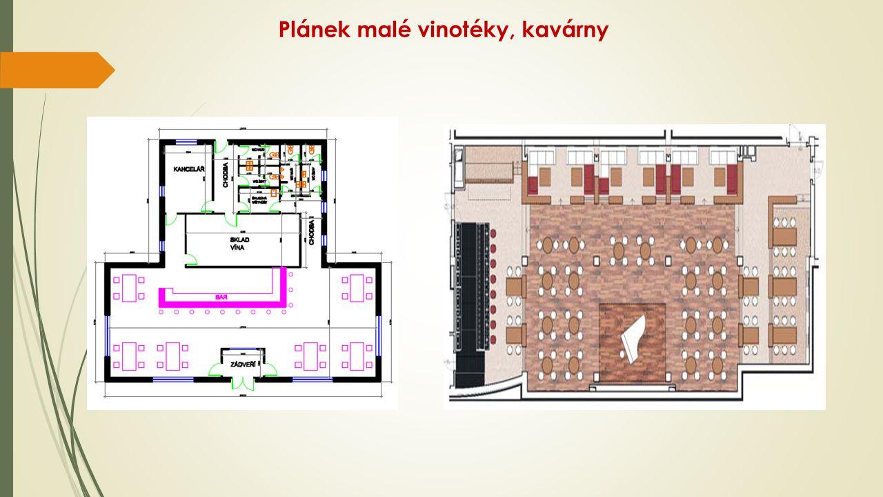 Plánek malé vinotéky, kavárny
