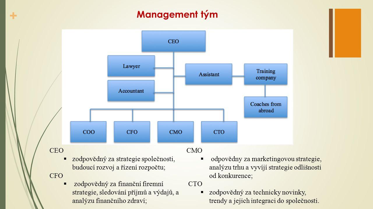 + Management tým CEO  zodpovědný za strategie společnosti, budoucí rozvoj a řízení rozpočtu; CFO  zodpovědný za finanční firemní strategie, sledování příjmů a výdajů, a analýzu finančního zdraví; CMO  odpovědny za marketingovou strategie, analýzu trhu a vyvíjí strategie odlišnosti od konkurence; CTO  zodpovědný za technicky novinky, trendy a jejich integraci do společnosti.