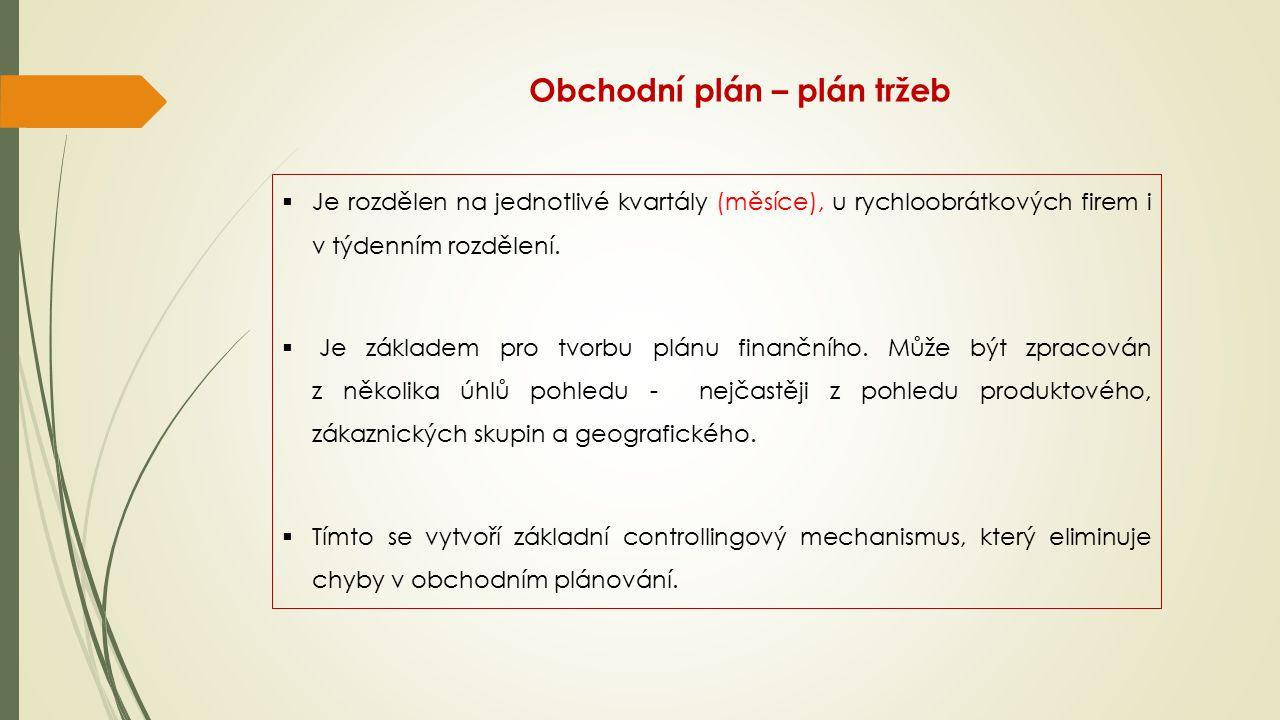 Obchodní plán – plán tržeb  Je rozdělen na jednotlivé kvartály (měsíce), u rychloobrátkových firem i v týdenním rozdělení.  Je základem pro tvorbu p