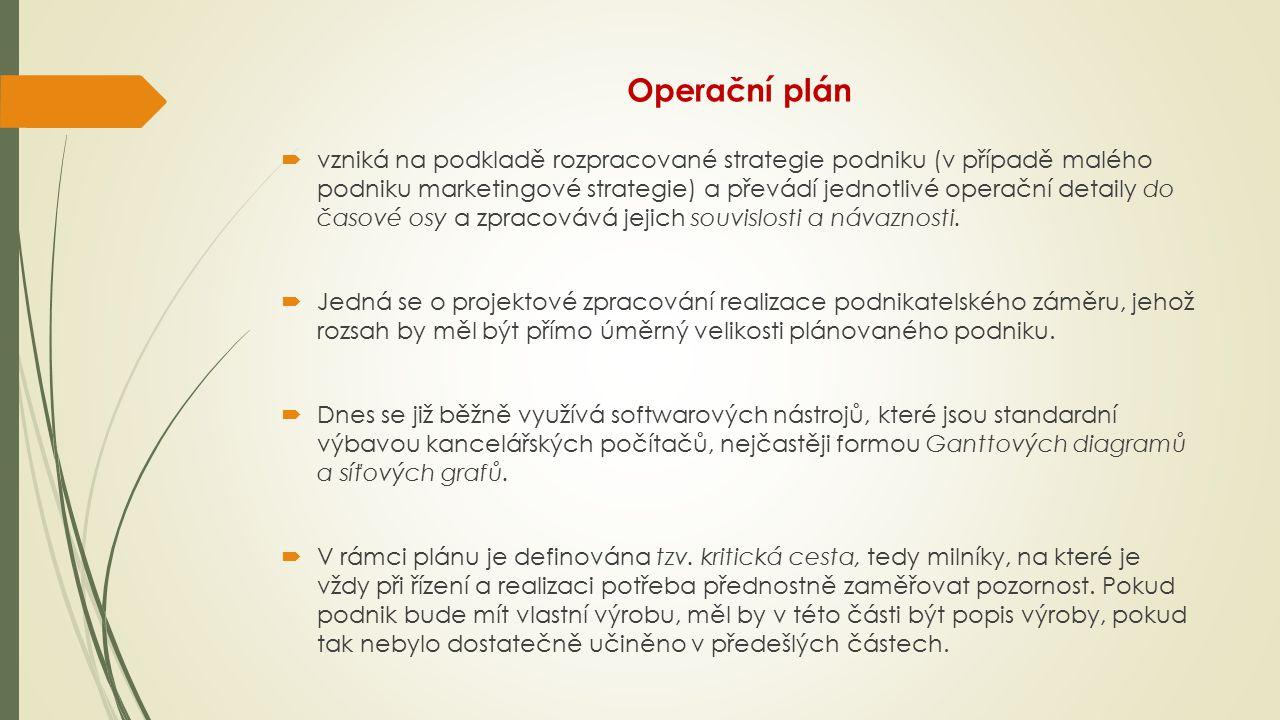 Operační plán  vzniká na podkladě rozpracované strategie podniku (v případě malého podniku marketingové strategie) a převádí jednotlivé operační deta