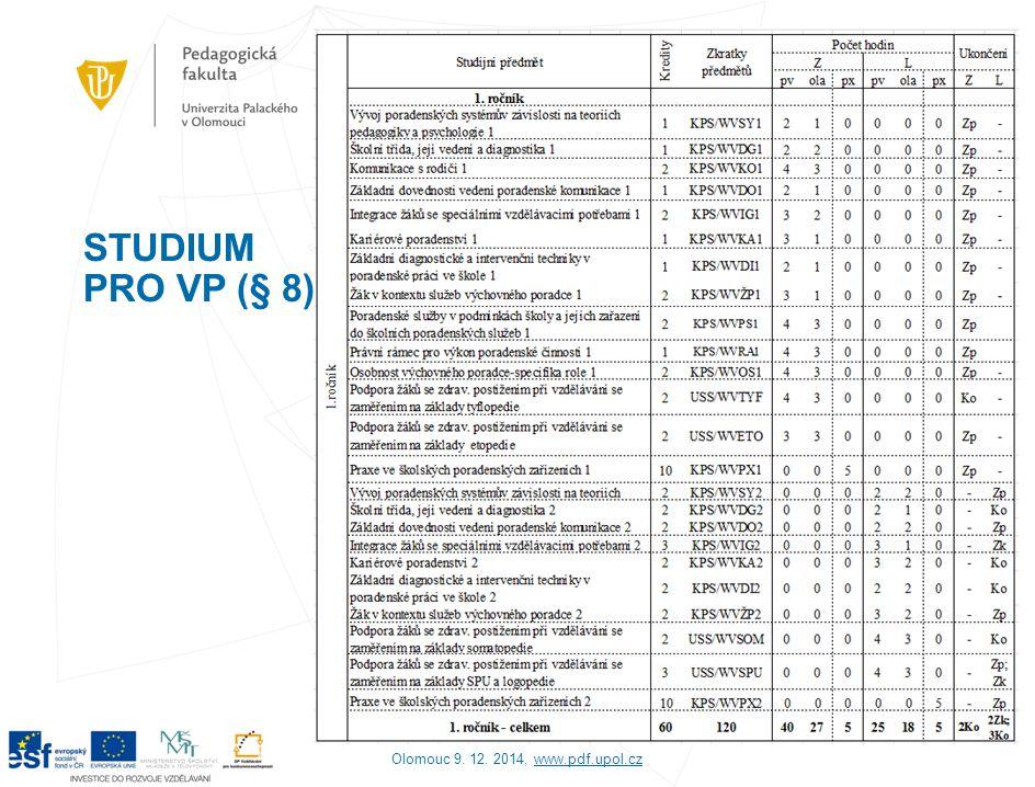 STUDIUM PRO VP (§ 8) Olomouc 9. 12. 2014, www.pdf.upol.czwww.pdf.upol.cz