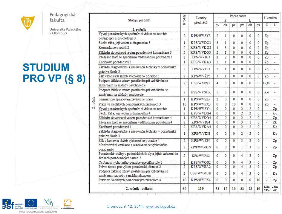 2) Poradenství pro výchovné poradce na PdF UP Odbor kariérového poradenství CCV (www.ccv.upol.cz): - specializace: kariérové poradenství v oblasti pedagogických věd, učitelství jednotlivých stupňů a druhů škol, zabezpečení logopedické péče, přímé speciálněpedagogické činnosti u zdravotně postižených dětí, žáků a studentů s jiným druhem postižení, http://www.ccv.upol.cz/cz/rubriky/kontakty/napiste-nam/ Pravidelná setkávání s metodiky a výchovnými poradci základních a středních škol Dny otevřených dveří PdF UP – setkání s výchovnými poradci středních škol Olomouc 9.