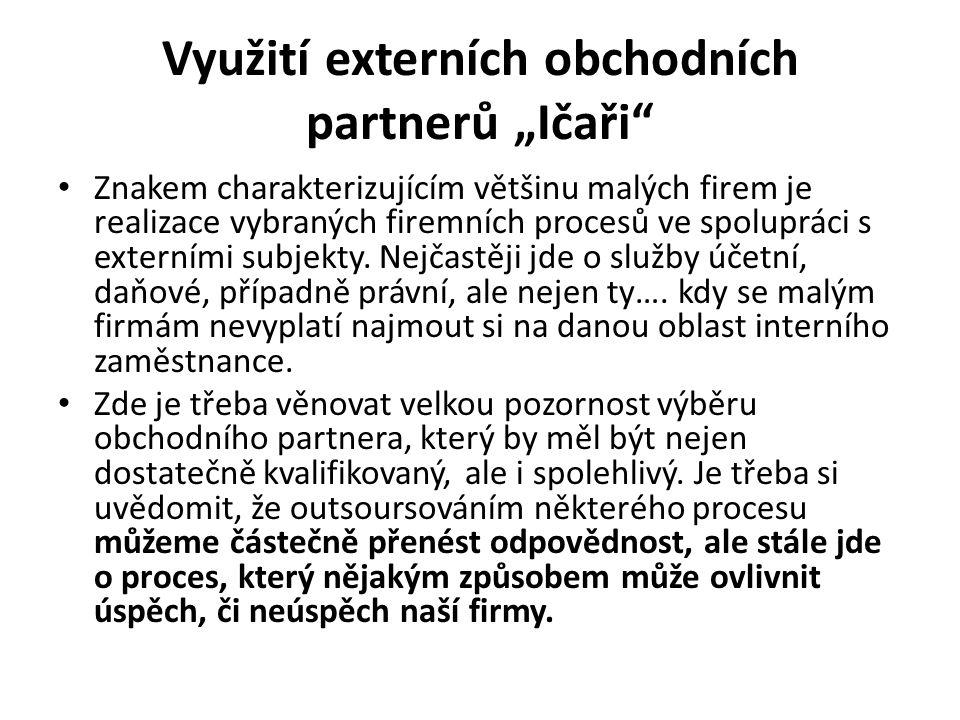 """Využití externích obchodních partnerů """"Ičaři"""" Znakem charakterizujícím většinu malých firem je realizace vybraných firemních procesů ve spolupráci s e"""