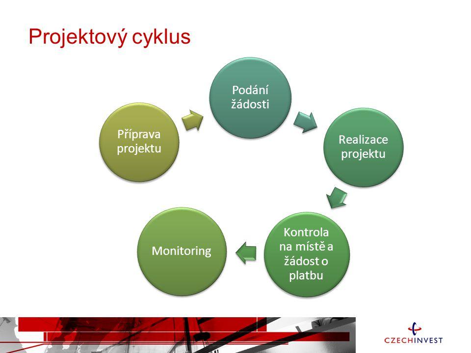 Projektový cyklus Podání žádosti Realizace projektu Kontrola na místě a žádost o platbu Monitoring Příprava projektu