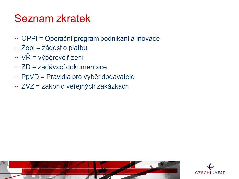Seznam zkratek OPPI = Operační program podnikání a inovace Žopl = žádost o platbu VŘ = výběrové řízení ZD = zadávací dokumentace PpVD = Pravidla pro výběr dodavatele ZVZ = zákon o veřejných zakázkách