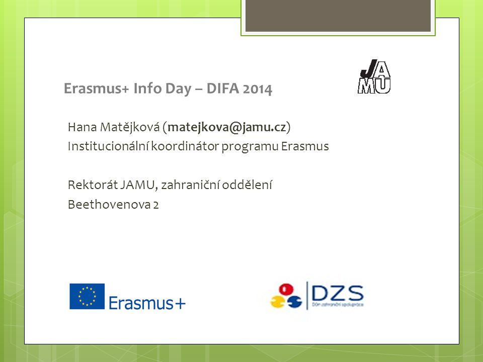 Erasmus+ Info Day – DIFA 2014 Hana Matějková (matejkova@jamu.cz) Institucionální koordinátor programu Erasmus Rektorát JAMU, zahraniční oddělení Beethovenova 2