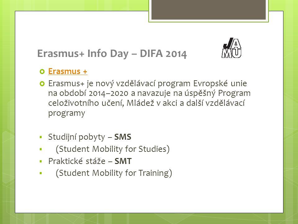 Erasmus+ Info Day – DIFA 2014  Erasmus + Erasmus +  Erasmus+ je nový vzdělávací program Evropské unie na období 2014–2020 a navazuje na úspěšný Program celoživotního učení, Mládež v akci a další vzdělávací programy  Studijní pobyty – SMS  (Student Mobility for Studies)  Praktické stáže – SMT  (Student Mobility for Training)