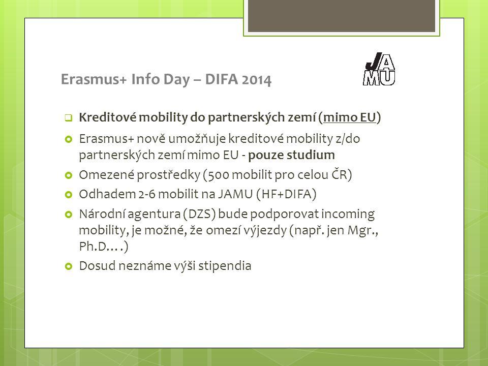 Erasmus+ Info Day – DIFA 2014  Kreditové mobility do partnerských zemí (mimo EU)  Erasmus+ nově umožňuje kreditové mobility z/do partnerských zemí mimo EU - pouze studium  Omezené prostředky (500 mobilit pro celou ČR)  Odhadem 2-6 mobilit na JAMU (HF+DIFA)  Národní agentura (DZS) bude podporovat incoming mobility, je možné, že omezí výjezdy (např.