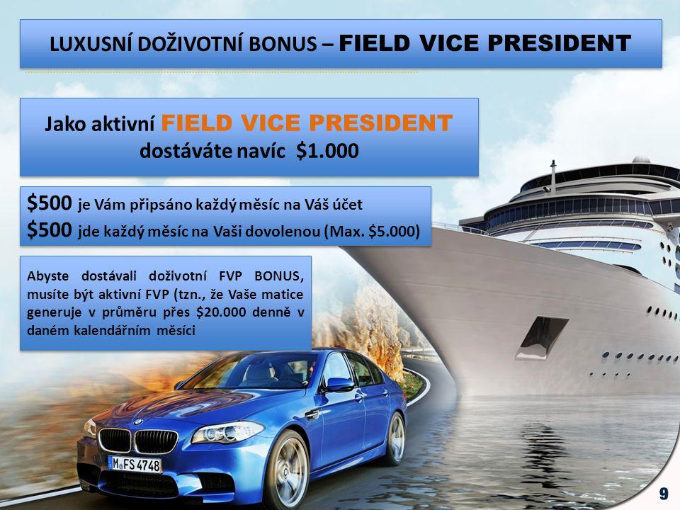LUXUSNÍ DOŽIVOTNÍ BONUS – FIELD VICE PRESIDENT Jako aktivní FIELD VICE PRESIDENT dostáváte navíc $1.000 $500 je Vám připsáno každý měsíc na Váš účet $
