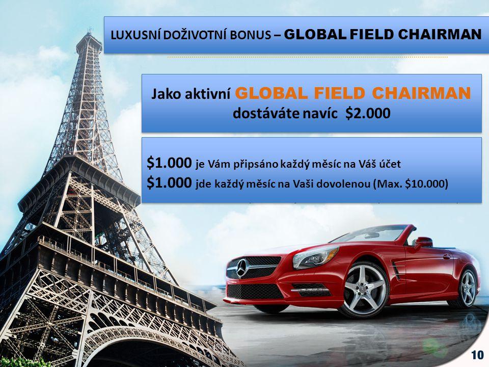 LUXUSNÍ DOŽIVOTNÍ BONUS – GLOBAL FIELD CHAIRMAN Jako aktivní GLOBAL FIELD CHAIRMAN dostáváte navíc $2.000 $1.000 je Vám připsáno každý měsíc na Váš úč