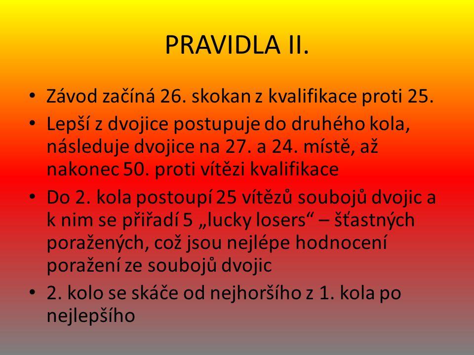 PRAVIDLA II. Závod začíná 26. skokan z kvalifikace proti 25. Lepší z dvojice postupuje do druhého kola, následuje dvojice na 27. a 24. místě, až nakon