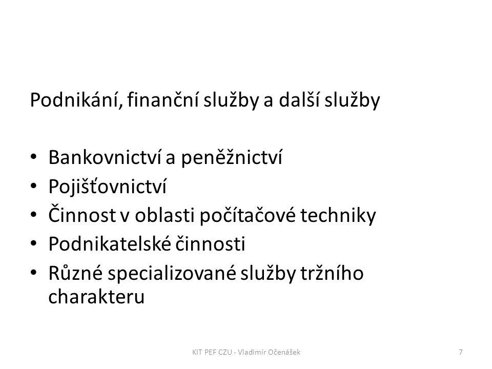 Podnikání, finanční služby a další služby Bankovnictví a peněžnictví Pojišťovnictví Činnost v oblasti počítačové techniky Podnikatelské činnosti Různé specializované služby tržního charakteru 7KIT PEF CZU - Vladimír Očenášek