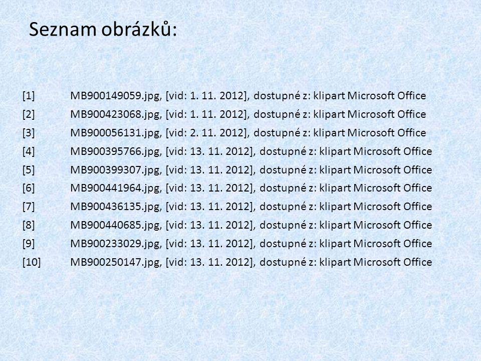 Seznam obrázků: [1]MB900149059.jpg, [vid: 1. 11. 2012], dostupné z: klipart Microsoft Office [2]MB900423068.jpg, [vid: 1. 11. 2012], dostupné z: klipa