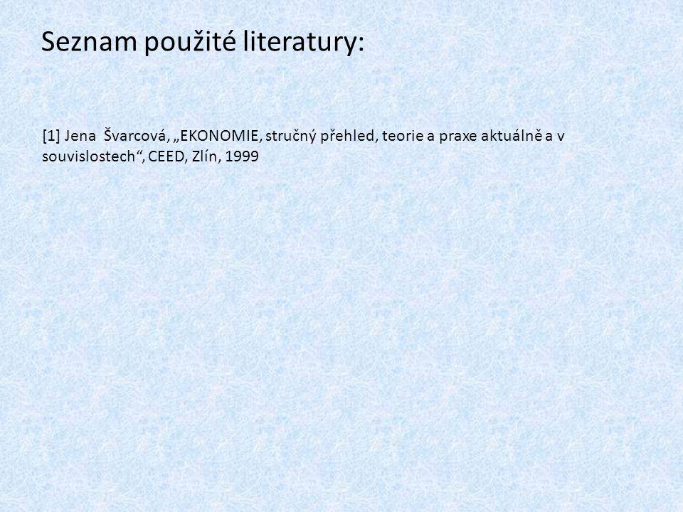 """Seznam použité literatury: [1] Jena Švarcová, """"EKONOMIE, stručný přehled, teorie a praxe aktuálně a v souvislostech"""", CEED, Zlín, 1999"""