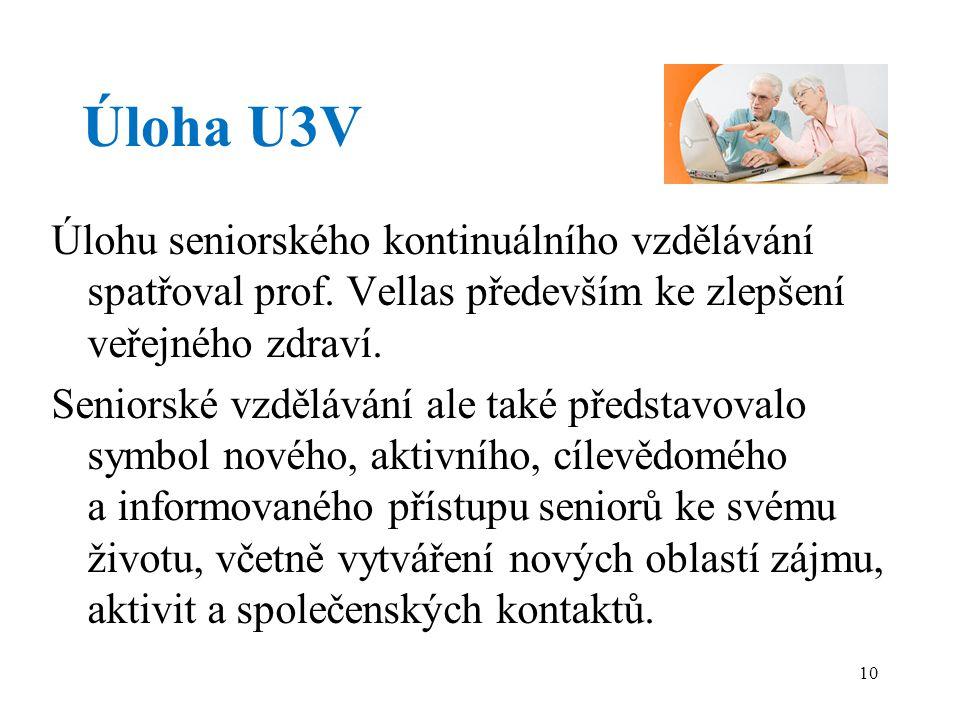 Úloha U3V Úlohu seniorského kontinuálního vzdělávání spatřoval prof.