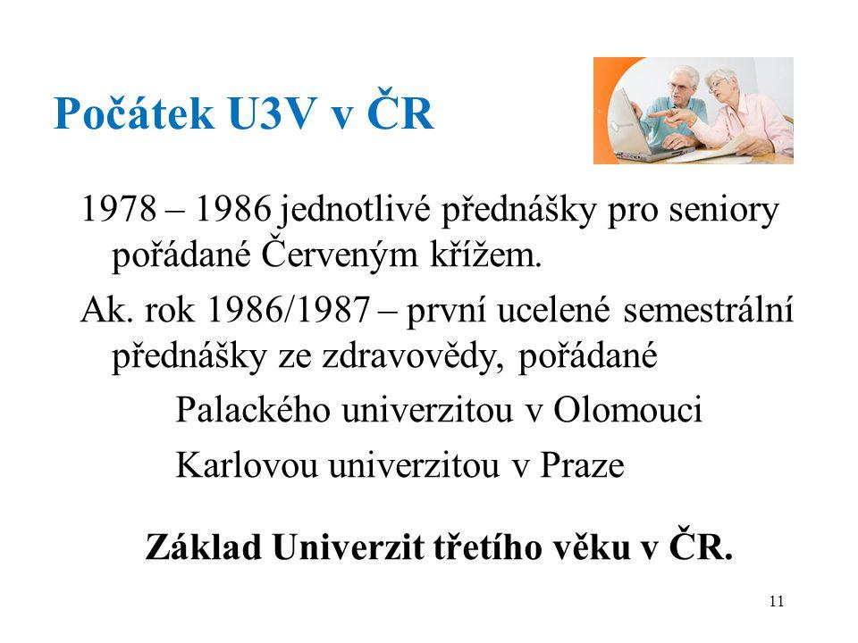 Počátek U3V v ČR 1978 – 1986 jednotlivé přednášky pro seniory pořádané Červeným křížem.