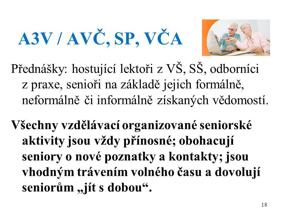 A3V / AVČ, SP, VČA Přednášky: hostující lektoři z VŠ, SŠ, odborníci z praxe, senioři na základě jejich formálně, neformálně či informálně získaných vědomostí.