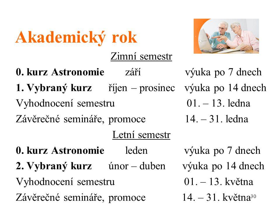 30 Akademický rok Zimní semestr 0.kurz Astronomie září výuka po 7 dnech 1.